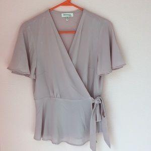 Blush pink wrap front blouse